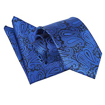 Royal Blue Paisley Patterned Tie 2 pc. Set