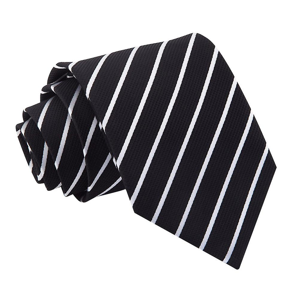 Single Stripe Black & White Tie
