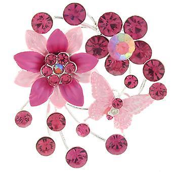 Broschen-Shop rosa Emaille & Crystal Daisy und Schmetterling Brosche