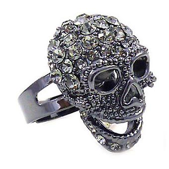 Butler & Wilson Small Black Diamond Skull Ring verstelbaar