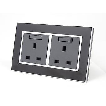 I LumoS AS Luxury Black Mirror  Glass Double Switched Wall Plug  13A UK Sockets