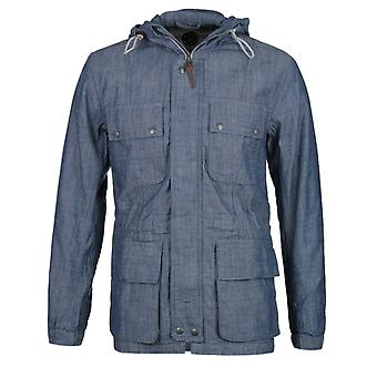 Pretty Green Tarbet Chambray Denim Blue Hooded Jacket