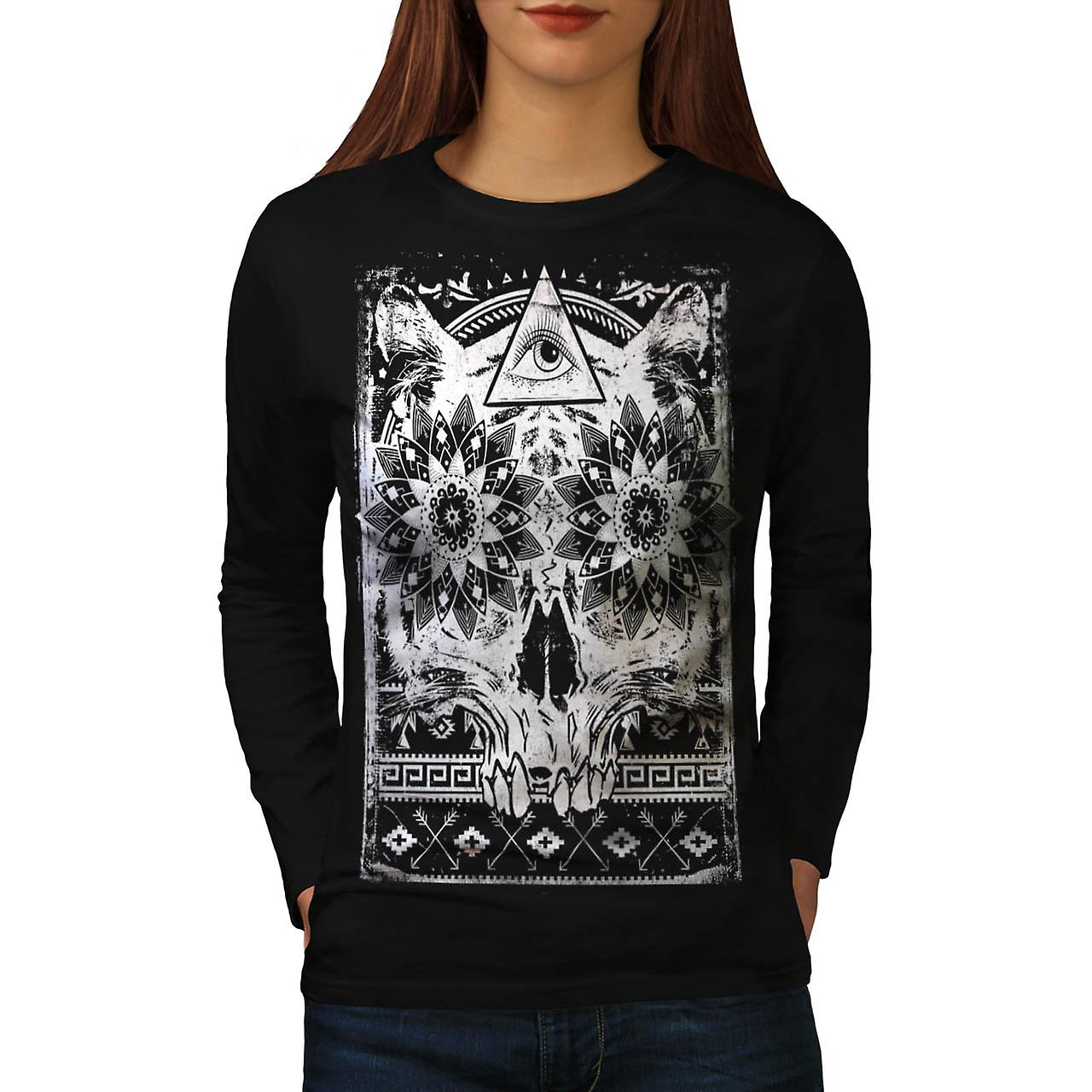 Secret Society Group Skull Beast Women Black Long Sleeve T-shirt | Wellcoda