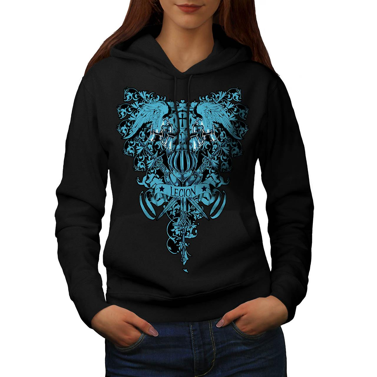 Kingdom Legion Cross Dead Symbol Women Black Hoodie | Wellcoda