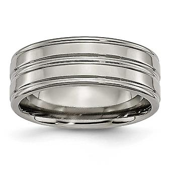 Titanium Engravable Grooved 8mm Polished Band Ring - Ring Size: 7 to 12.5