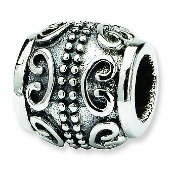 Sterling Silver Antique finish Reflections SimStars Scroll Bali Bead Charm