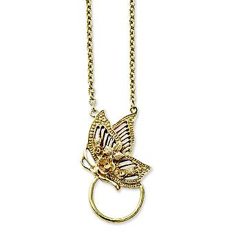 Gold-tone Fancy Lobster Closure Butterfly Eye Glass Holder Necklace