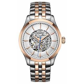 Rotary Mens Two Stone Strap Rose Gold Plated Case GB05034/06 Watch