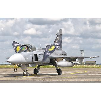 A JAS-39 Gripen of the Czech Air Force at Cambrai Air Base France during the NATO Tiger Meet 2011 Poster Print