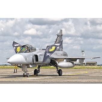 JAS-39 Gripen czeskich sił powietrznych w Cambrai Air Base Francji podczas NATO Tiger Meet 2011 Poster Print