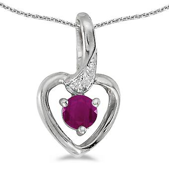 14k White Gold Round Ruby And Diamond Heart Pendant with 18