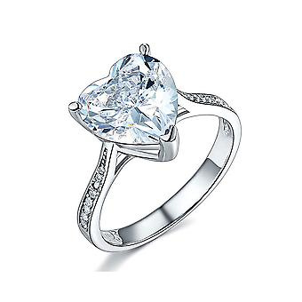 925 Sterling Silver 3.5 Carats White Simulated Diamond Heart Ring (3.5 Cttw, G-H Color, I2-I3 Clarity)