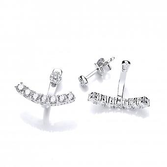 Cavendish French Silver and Cubic Zirconia Row Jacket Earrings