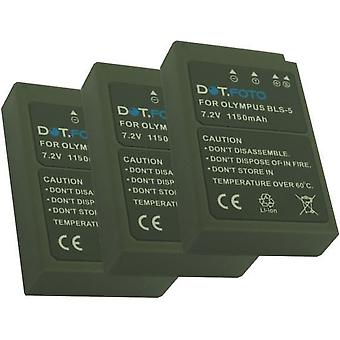 3 x Dot.Foto Olympus BLS-5, BLS-50 Replacement Battery - 7.2v / 1150mAh