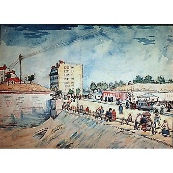 Vincent Van Gogh - Gate in the Paris Ramparts Poster Print Giclee