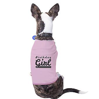 عيد ميلاد فتاة الوردي المحملة الحيوانات الأليفة الصغيرة تي شيرت مضحك رسم الكلب الصغيرة