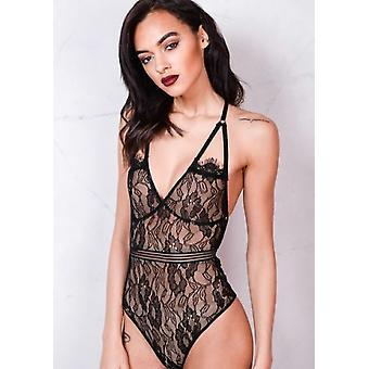 Lace Backless Nude Mesh Bodysuit Black