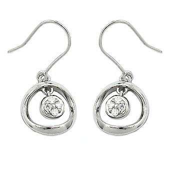 Ear hook rhodinier silver cubic zirconia white earrings 925 sterling silver