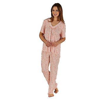 Slenderella rosa Animal Print Jersey kort erme Pyjama satt PJ5138