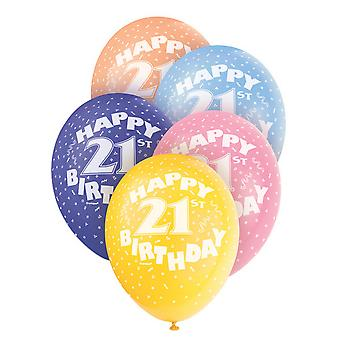 Unique Party Happy 21st Birthday Assorted Balloons (Pack Of 5)