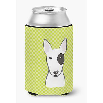 Checkerboard Lime Green Bull Terrier Can or Bottle Hugger