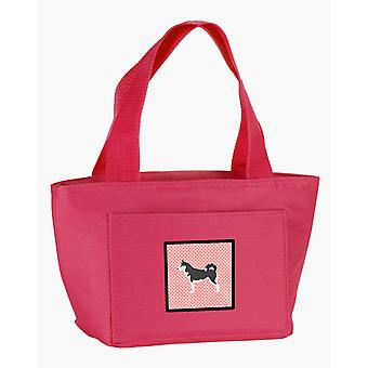 Carolines Treasures  BB3680PK-8808 Siberian Husky Checkerboard Pink Lunch Bag