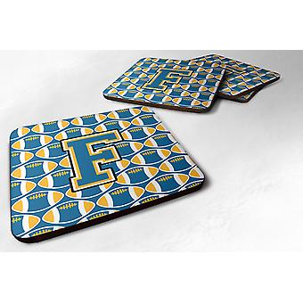 Set of 4 Letter F Football Blue and Gold Foam Coasters Set of 4