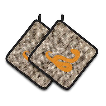 Snake Faux Burlap and Orange   Pair of Pot Holders