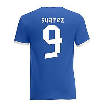 Luis Suarez Uruguay Ringer Tee (blue)