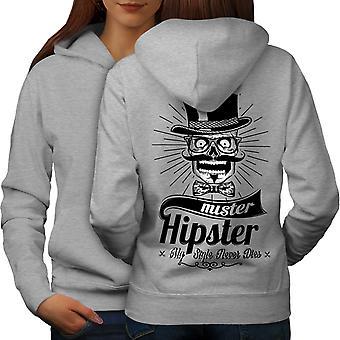 Hippie Mister Vintage Women GreyHoodie Back | Wellcoda