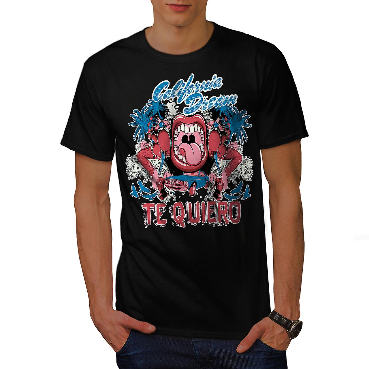 Te Quiero Art California Men Black T-shirt | Wellcoda