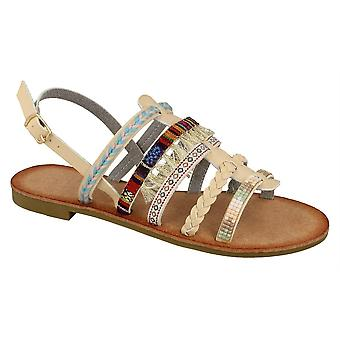 Ladies Womens New Sling Strap Beaded Braided Pompoms Strappy Sandals Shoes