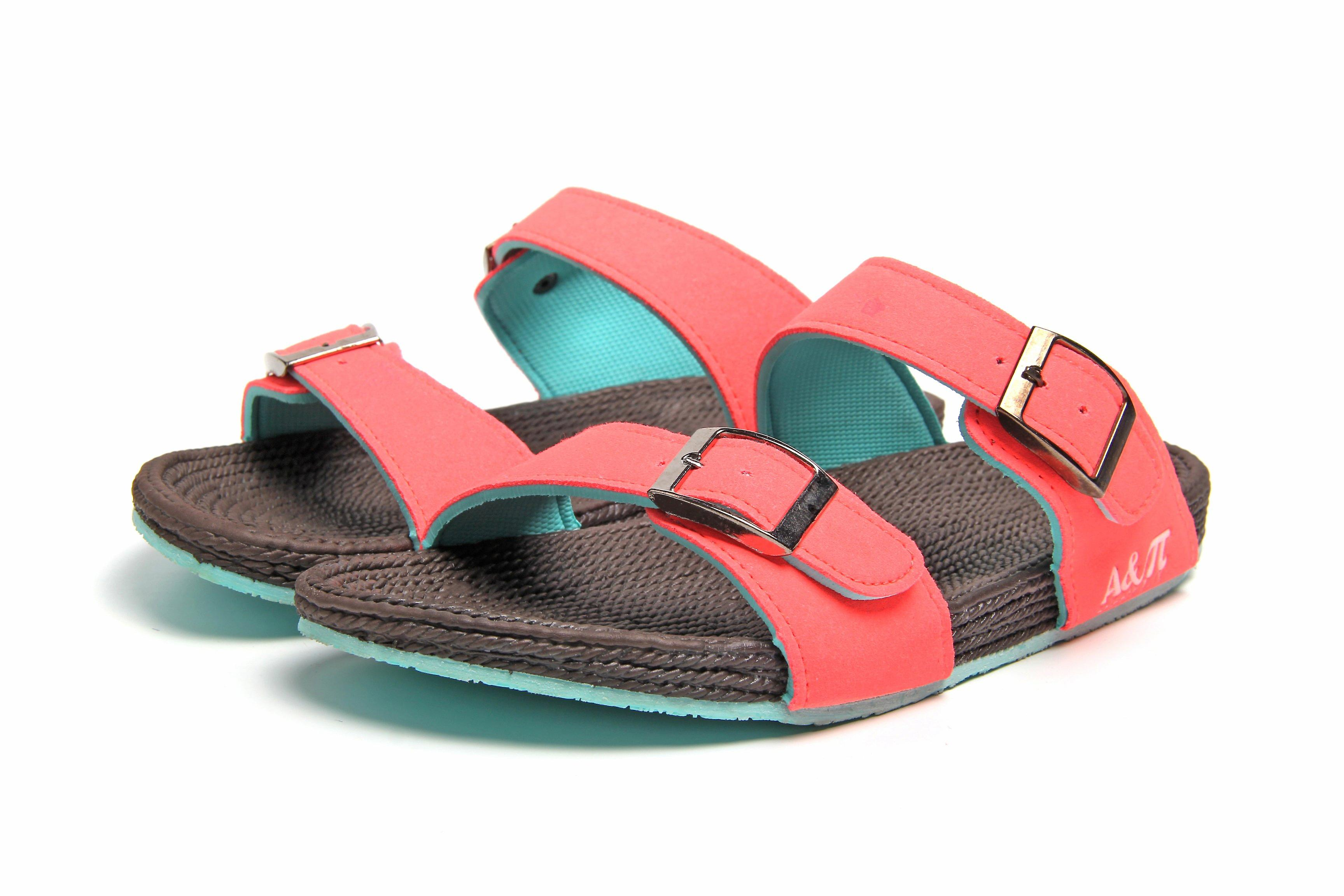 Atlantis Shoes Women Supportive Cushioned Comfortable Sandals Dual Band Brown-fuchsia