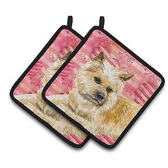 Carolines Treasures  BB9777PTHD Cairn Terrier Love Pair of Pot Holders