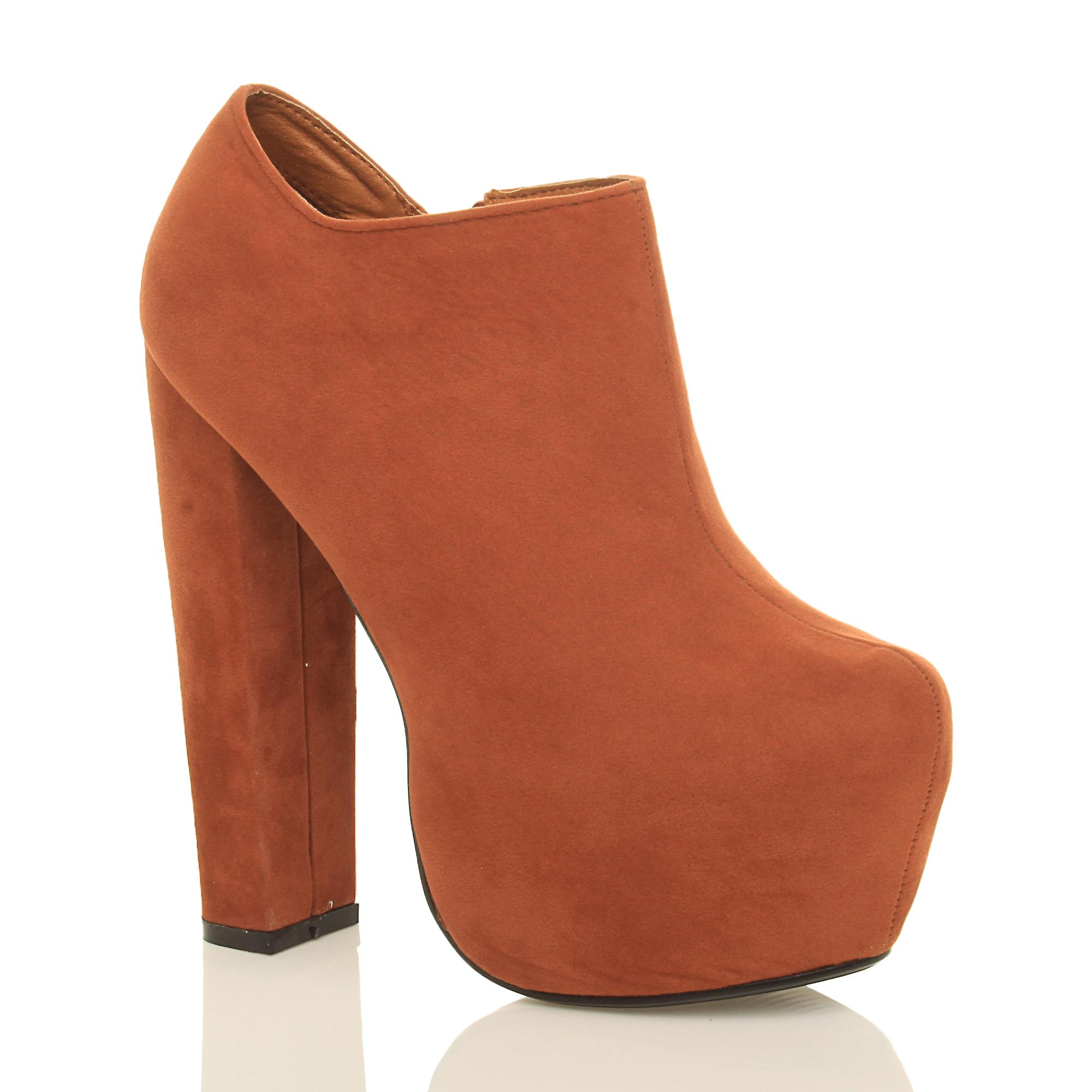 Ajvani womens block high heel concealed platform zip chunky ankle boots booties