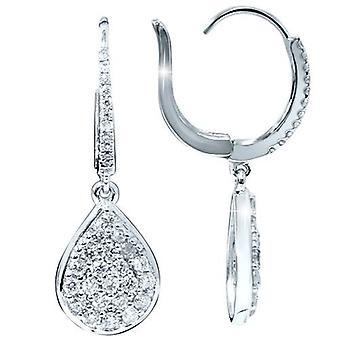 Collar de aros de diamante de 1 1 / 8ct VS pera forma aretes 18K oro blanco 1 1/4