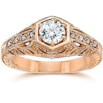 Emery .70Ct Vintage Diamond antiken Engagement 14K Rose Gold
