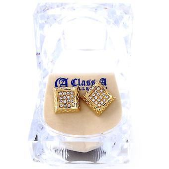 Iced Out Bling Ohrstecker Box - RECTANGLE gold