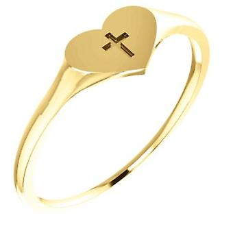 14k Yellow Gold for boys or girls Heart With Cross Ring - .5 Grams - Size 6