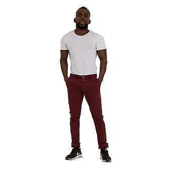 Slim Fit Mens Chinos - Burgundy Smart Casual Chino Trousers Mens Pants