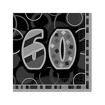 Verjaardag Glitz zwarte & zilveren 60ste verjaardag - lunch servetten
