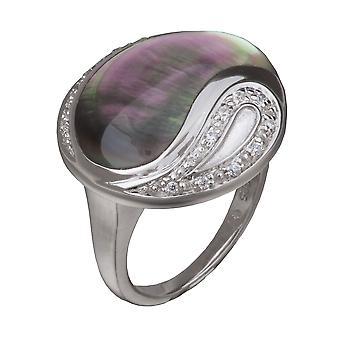Orphelia Silver 925 Ring  Zirconium  Black Mop  ZR-3642