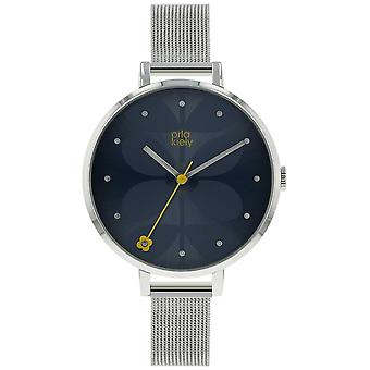 Orla Kiely Large Silver Case Navy Blue Sunray Dial Silver Mesh Strap OK4061 Watch