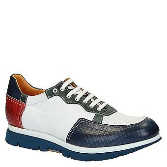 En cuir multicolore baskets chaussures Made in Italy
