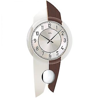 AMS 7409 wall clock quartz with pendulum wooden Walnut colours with aluminium finish