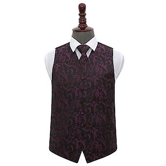 Black & Purple Floral Wedding Waistcoat & Tie Set