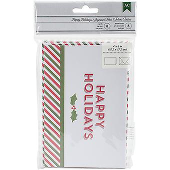 American Crafts Cards W/Envelopes 8/Pkg-Happy Holidays