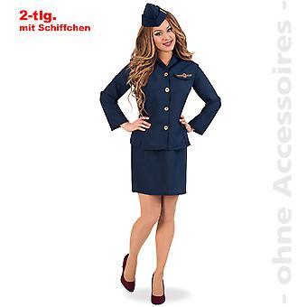 Stewardess Kostüm Damen Kaffeeschubse Flugbegleiterin Damenkostüm