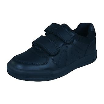 Geox J Arzach B E Boys Leather Trainers / School Shoes - Black