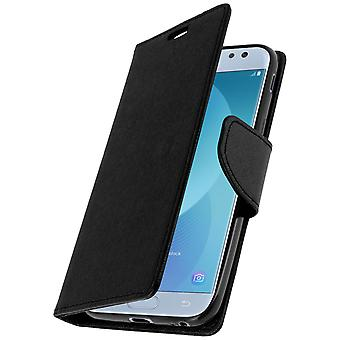 Fancy style cover, wallet case with stand for Samsung Galaxy J3 2017 - Black